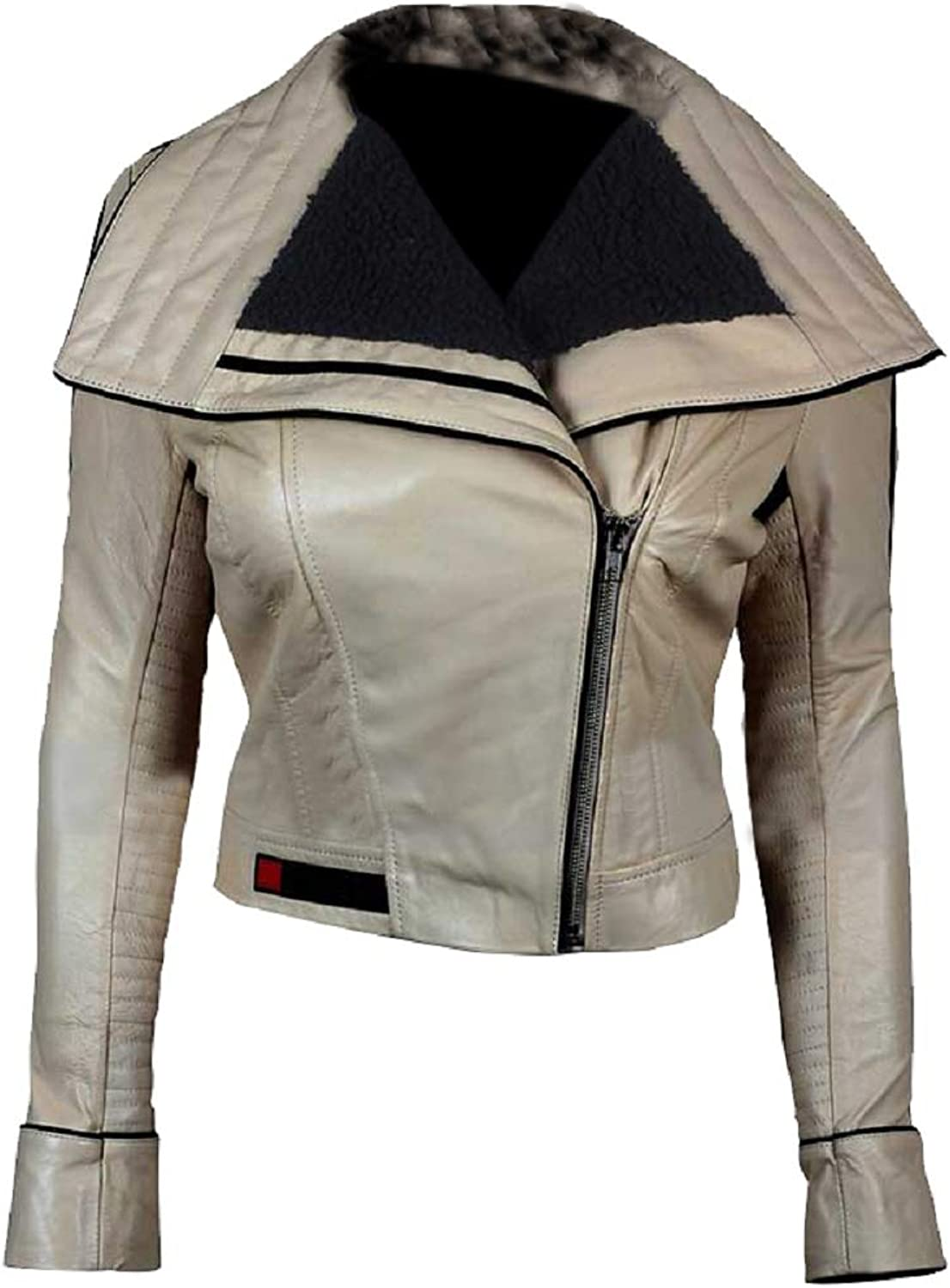 Erha Accessories Solo A Star Wars Story Qira Emilia Clarke Ivory White Real Sheepskin Leather Jacket
