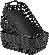 Zerdyne 6-Pack Plastic Storage Basket Trays with Handle, Gray