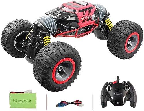 GG-kids toys RC Car Amphibious Waterproof Stunt Remote Vehicle 2.4GHz Ferngesteuerter Ferngesteuerter LKW, Double-Side, 360 Grad-Drehbeschleunigungen und Flips, Rot
