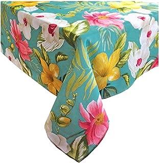 Newbridge Calla Lily Tropical Tablecloth Bright Floral Indoor Outdoor Fabric (52 x 52 Square)