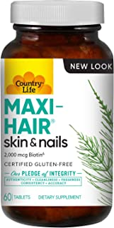 Country Life Maxi-Hair - 90 Tablets - (Pack of 2) - Healthier Hair & Skin - Strong Nails - Vegetarian - B Vitamins - MSM -...