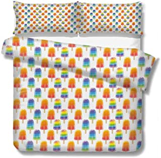 Flyerer Queen Duvet Cover Orange and Rainbow Colored Sugary Treats Popsicles Sweet Tooth Theme Pattern 100% Cotton Bedding, 1 Quilt Cover and 2 Pillowcases, Zip Closure 89x89 inch