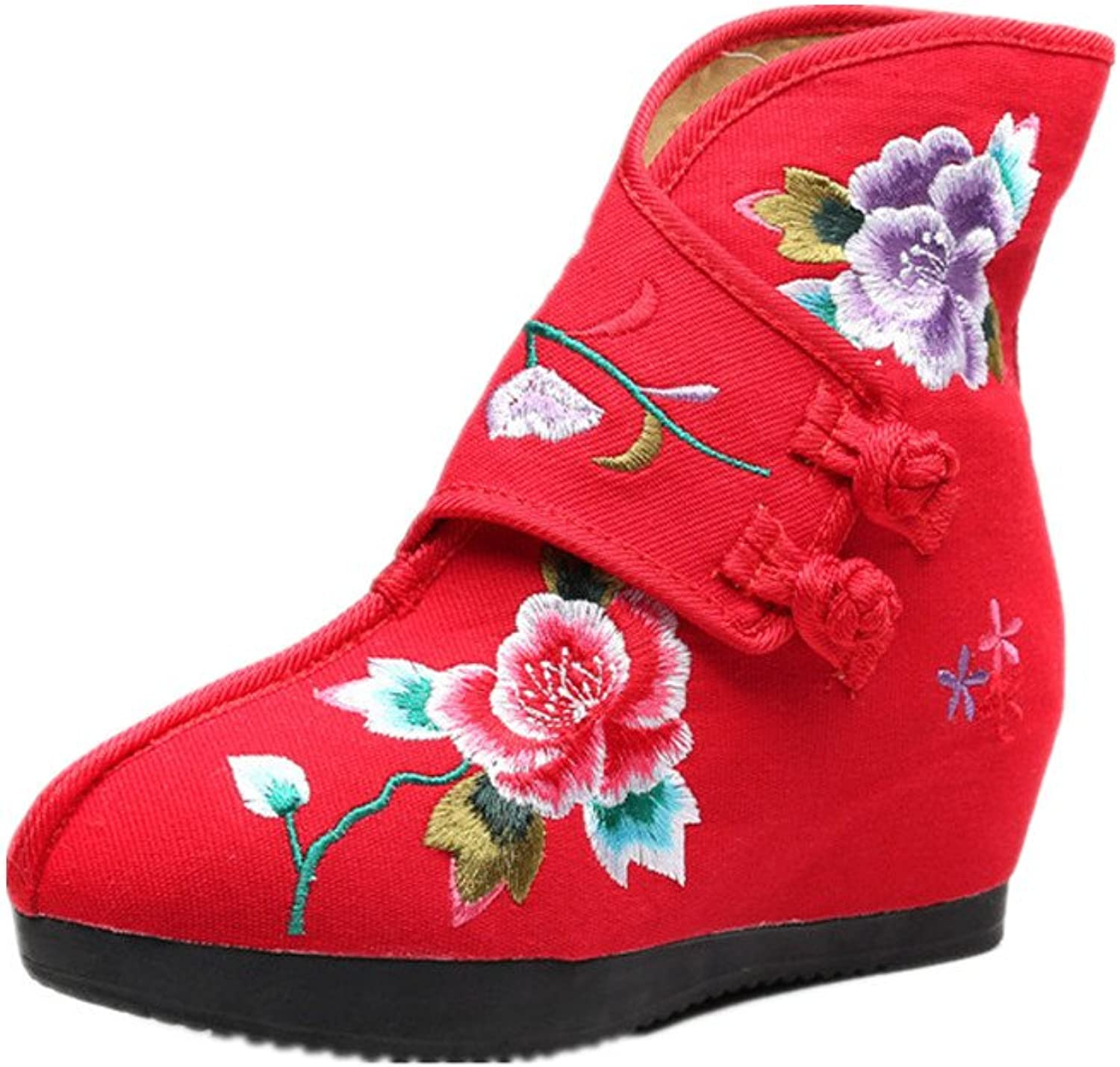 Tianrui Crown Women and Ladies The Purple Flower Embroidery Short Ankle Boots shoes