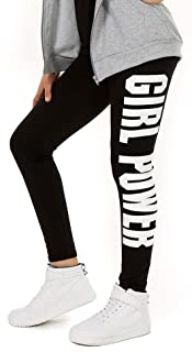 AlexFashion Baumwolle Sport Leggings für Mädchen Girl Power Boyfriendhose Hose Legings Jogging Gr. 116-158