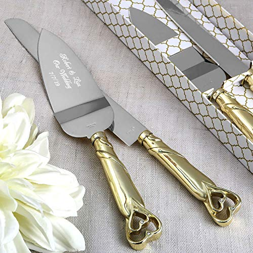 Gifts Infinity Personalized Gold Interlock Hearts Wedding Cake Knife and Server Set Free Engraving 2536