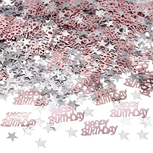 APERIL Happy Birthday Geburtstag Konfetti Silber Stern Konfetti Pailletten, 30g Tischkonfetti, Geburtstag Konfetti für Jungen Mädchen Geburtstagsfeier Dekoration-Roségold