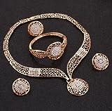 yuese Nuevo collar de hija nuevos conjuntos de joyas africanas de oro a la moda collar pendientes pulsera anillo mujer color oro joyería conjunto boda (color metal: F860)