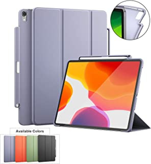 iPad Pro 11 Case with Pencil Holder, Suppprt Magnetic Attachment&Wirelessly Charge,Magnetic Closure and Auto Sleep/Wake,Two Easy Viewing Angles,Soft TPU Back Shell for 2018 Pro 11 (Grey)
