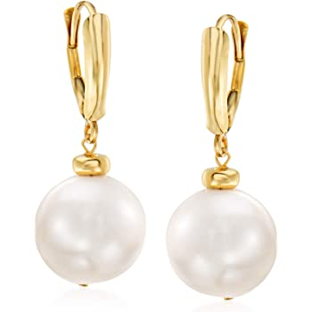 Ross-Simons 11.5-12.5mm Cultured Pearl Drop Earrings in 14kt Yellow Gold