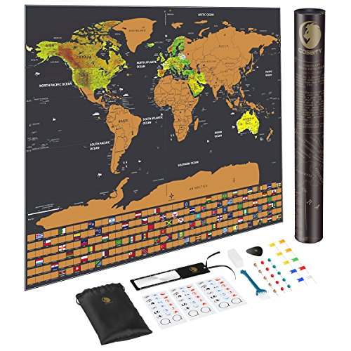 COSBITY Scratch Off Map of The World with US States and Country Flags, Including Flags/Map Push Pins/Scratcher/Memory Stickers