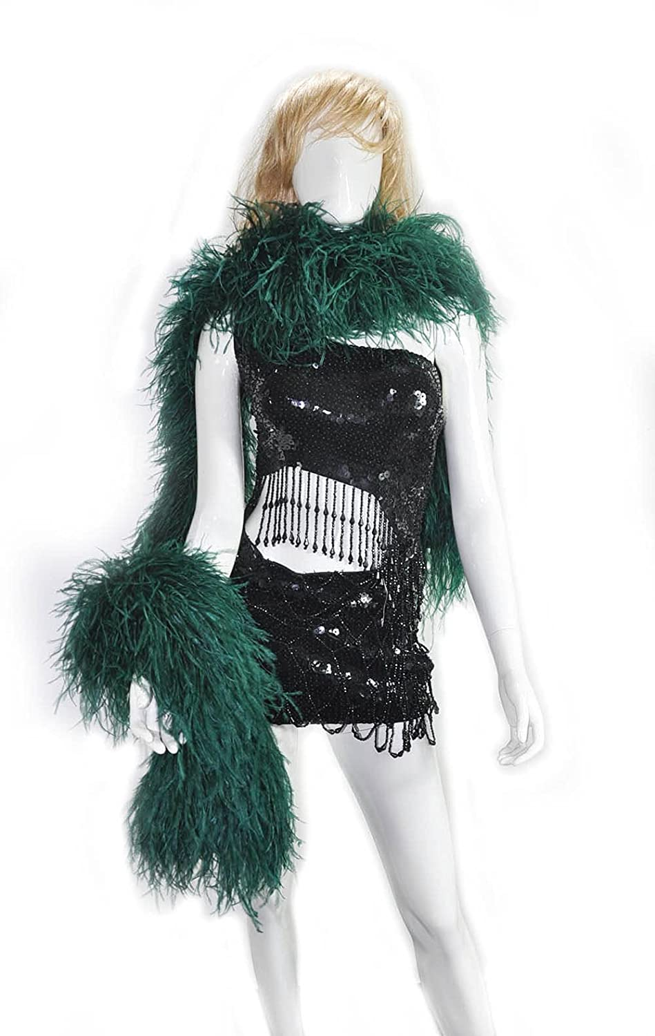Direct store 20 ply forest green Luxury Ostrich Boa 180 Limited time cheap sale Feather cm 71
