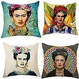 Aplicable a la funda de almohada de autorretrato de estilo mexicano Frida Kahlo 4 piezas, funda de cojín de lino de algodón funda de almohada decoración de coche familiar 45 cm x 45 cm