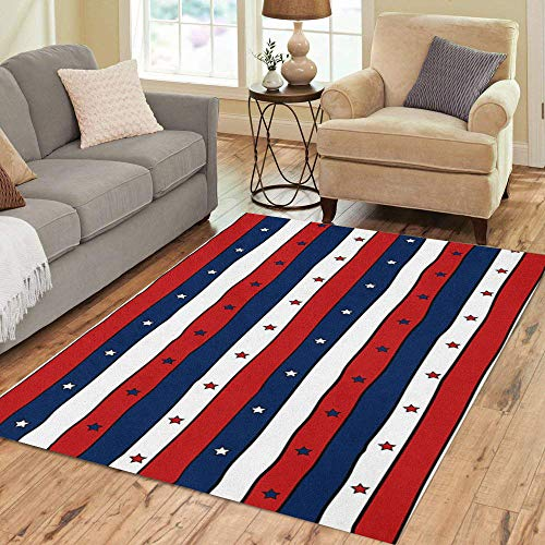 Pinbeam Area Rug Red White and Blue Striped Stars Abstract Home Decor Floor Rug 3' x 5' Carpet