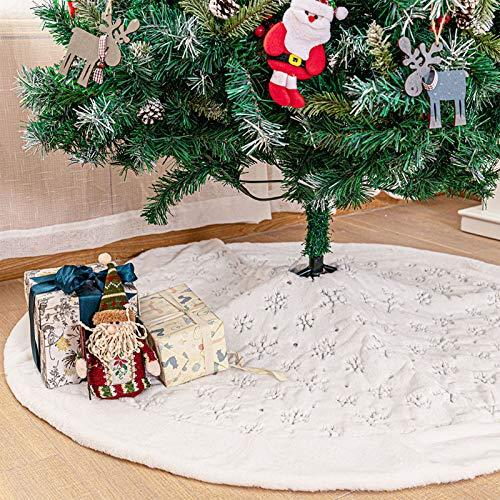 Deggodech Weihnachtsbaum Röcke Weißer 122cm Weihnachtsbaum Rock Weiß Plüsch Rund Weihnachtsbaumdecke Fell Christbaumständer Teppich für Weihnachtsfeiertag Dekorationen (Silber, 122CM/48 Zoll)