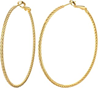 Big Hoop Earrings for Women Sterling Silver Post 14K Gold (White Gold/Rose Gold) Plated 50mm 60mm 70mm Twisted Spiral Style Hoops Loop Earrings Valuable Gift to Girls