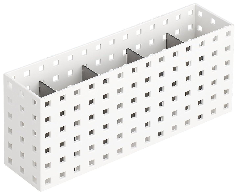 like-it 収納ケース マルチスタンド仕切り板4枚付 COBACO ホワイト×グレー 幅7x奥28x高12.5cm CB-9028S