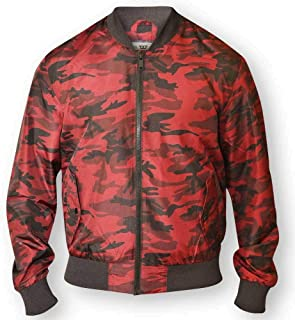 D555 BY DUKE MENS CAMOUFLAGE BOMBER JACKET MA 1 LINED RED BLUE S-XXL (132162)