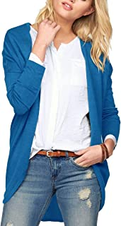 Womens Mid Length Lightweight Draped Open Front Long Sleeve Cardigan Sweaters (S-2XL)