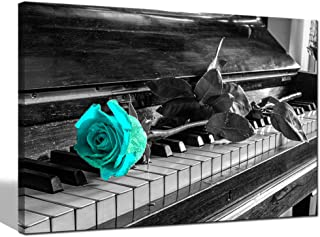 sechars - Canvas Wall Art for Living Room Teal Rose on Black and White Piano Keys Picture Canvas Print Modern Flower Floral Paintings Home Wall Decoration Stretched Gallery Wrapped Ready to Hang