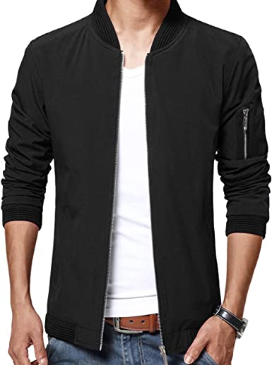 LTIFONE Mens Casual Jacket Zip Up Lightweight Bomber