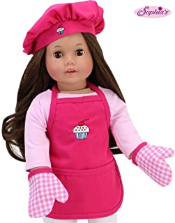 Hot Pink Baking Apron, Hat & Gingham Mitten Set | 4 Piece Doll Apron Set for 18 In Dolls