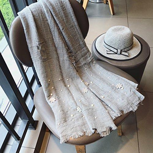 BAGEHUAN Herbst und Winter Schals weiblichen Cute Pearl Blumen hohlen Baumwolle Schals warmen Kragen Narbe Schal Frauen, Grau
