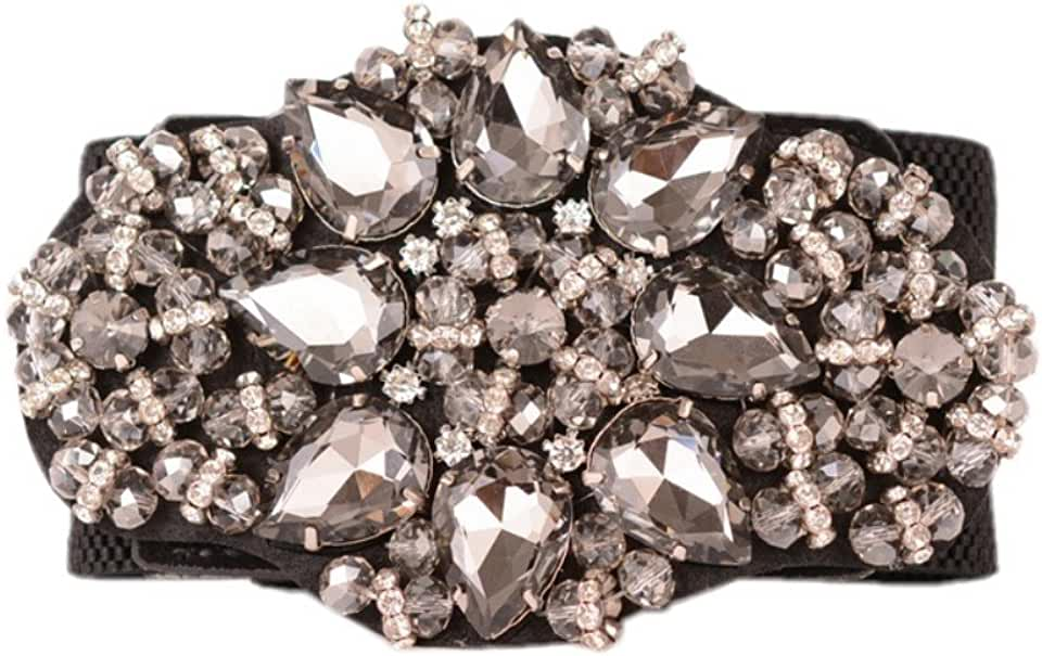 Dorchid Women Rhinstone Belt Full Crystal Buckle Cummerbund Wide Elastic Waistband 7 Colors