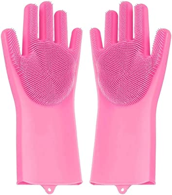 DeoDap Silicone Cleaning Reusable Heat Resistant Pair of Brush Gloves Scrubber for Kitchen (2 Pack)