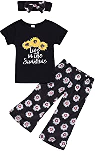 JYC Outfits Set Toddler Baby Girls Letter Print T-shirt Tops Sunflower Pants Headband  Black  6-12 Months