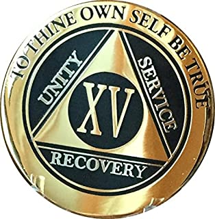 Recoverychip 15 Year AA Medallion Elegant Black Gold Silver Bi-Plated Alcoholics Anonymous Chip