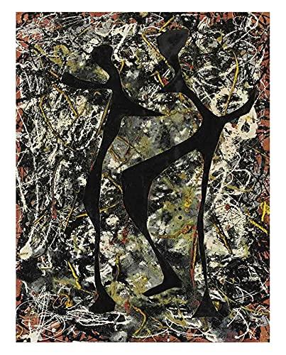 Danza rítmica de Jackson Pollock Cuadro en Lienzo | Lienzos Decorativos | Cuadros Decoración Dormitorios | Cuadros Decoración Salón | Cuadros y láminas (30x40cm (12x16pulgadas), Sin Marco)