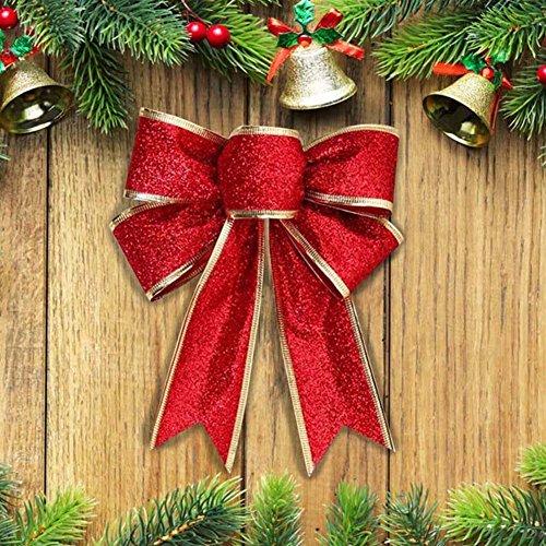 ILOVEDIY 2X Groß Weihnachten Schleifen Weihnachtsbaum Anhänger Fenster Deko Ziehschleifen Autoschleifen Hochzeit Dekoration (Rot)
