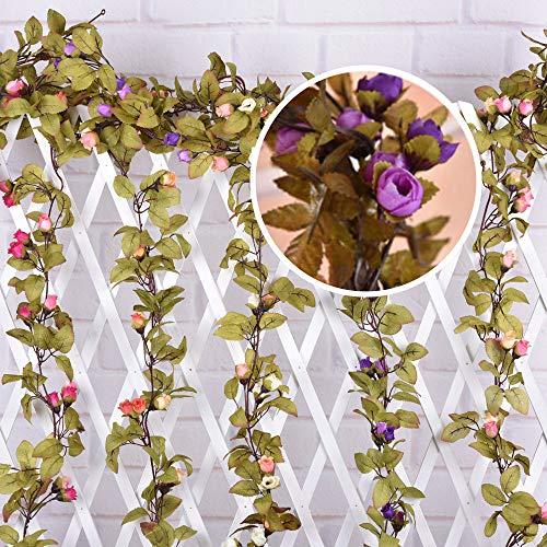 DDELLK Kunstklimopslingers, namaakzijde roos bloem slinger hangende kunstplant tafeldecoratie bruiloft verjaardag zijde bloemen wijnstok bruiloftsfeest wooncultuur wanddecoratie C