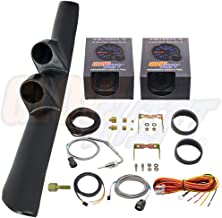 GlowShift Diesel Gauge Package for 1998-2002 Dodge Ram Cummins 1500 2500 3500 - Tinted 7 Color 60 PSI Boost & 1500 F Pyrometer EGT Gauges - Black Full Size Dual Pillar Pod