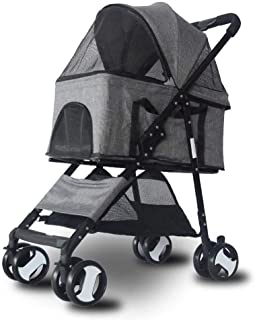 Pet stroller Four-Wheeled Pet Stroller,Collapsible Pet Stroller, Small Pet Stroller,Pet Stroller,Pet Supplies,for Small and Medium Pets (Color : Grey)