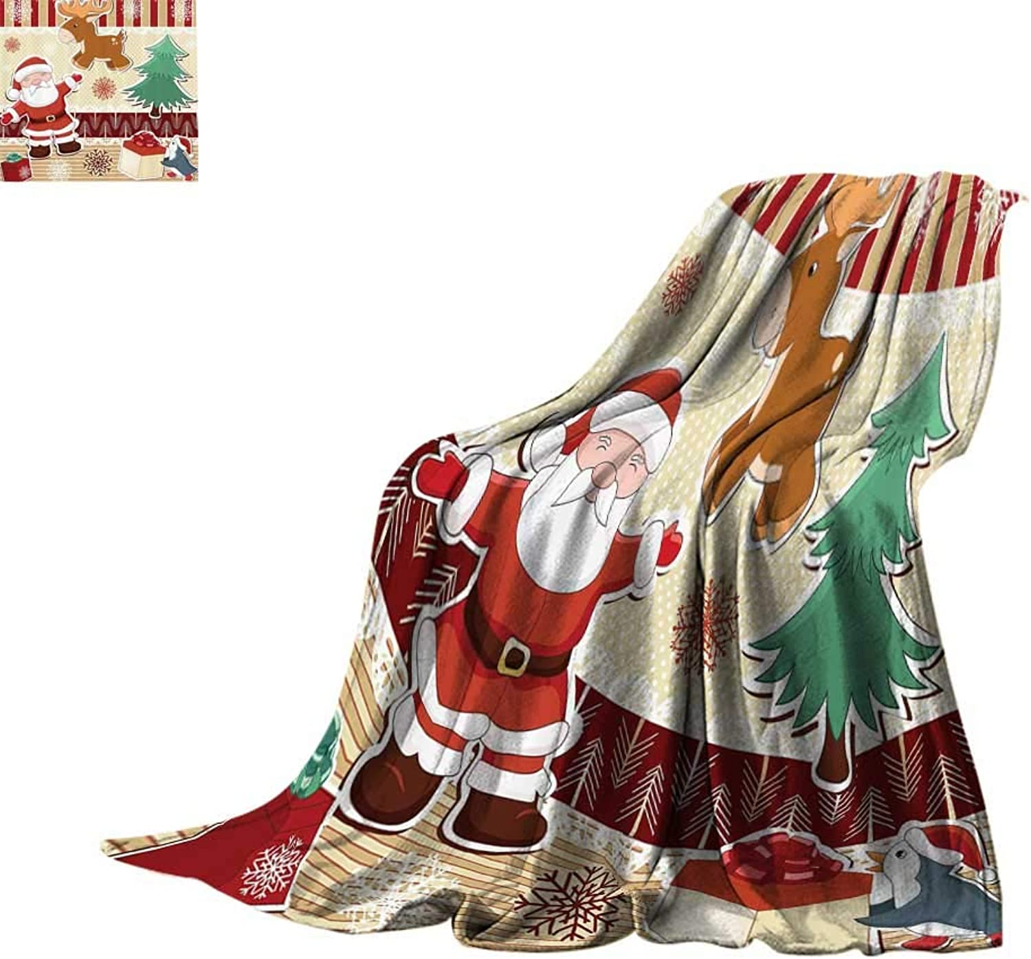 Throw Blanket Christmas Decorations Collection,Cute Santa with Reindeer and Penguin Toys Snow Celebration Kids Room Design Patterns,Multi Lightweight Thermal Blankets Bed or Couch 60 x35