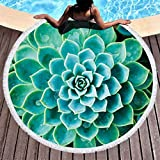 SANGNI Succulent Printed Thicken Round Beach Towel with Fringe Tassel,Camping Picnic Yoga Carpet Mat,Circular Beach Towel,Decor Cushion for Baby Kids in House Room Bedroom,Bed Curtain (Aquamarine)