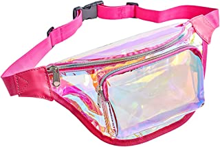 Eland Clear Fanny Pack for Women, Holographic Waist Pack, Fashion Belt Bag for Rave Festival, Travel, Concerts and Stadium