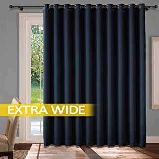cololeaf Extra Wide Curtains with Grommets Privacy Room Divider Curtain Thermal Insulated Blackout Curtains Room Darkening Panel for Sliding Door - Navy 100W x 102L Inch (1 Panel)