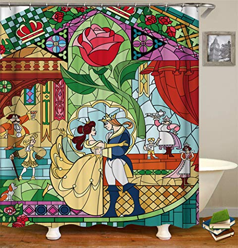 LGY Haus Dekoration. Prinz Und Prinzessin Rosen. Duschvorhang 180X180Cm. 3D Hd-Druck. Wasserdichtes Gewebe Freier Haken. Geben Sie 12 Haken Frei.