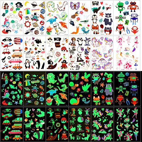 Qpout Temporäre Tattoos für Kinder, 135 Stück Im Dunkeln Leuchtende Mixed Style Cartoon Tattoo, Einhorn Meerjungfrau Schmetterling Tier Dinosaurier Pirat Tattoo, Jungen Mädchen Party Dekor Geschenk