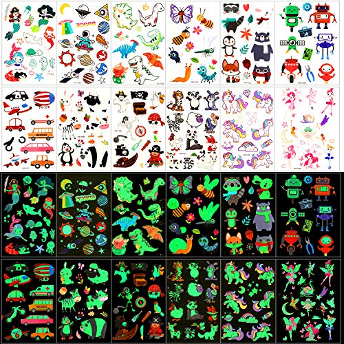 Konsait Temporary Tattoos for Kids, 135pcs Glow In The Dark Mixed Style Cartoon Tattoo, Luminous Unicorn Mermaid Butterfly Animal Dinosaur Pirate Car Space Fake Tattoo, Boys Girls Party Favor Supplies