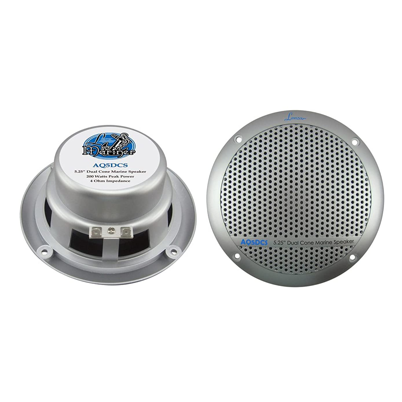 Lanzar 5.25 Inch Marine Speakers - 2 Way Water Resistant Audio Stereo Sound System with 300 Watt Power, Attachable Grills and Resin Treatment for Indoor and Outdoor Use - 1 Pair - AQ5DCS (Silver)