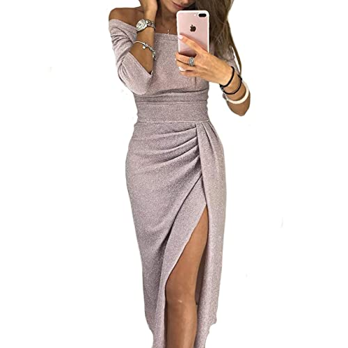 159a7a79 CHICME BEST SHOPPING DEALS Women Shiny Off Shoulder Ruched Thigh Slit Dress