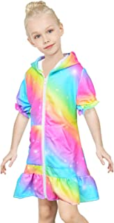 Fiodrimy Girls Cover Up Hooded Zip Terry Swimsuit Cover Ups for Bathing Beach Dress Kids 4-9 Years