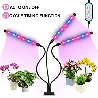 Grow Light, Auto ON/Off Every Day 36W Plant Lights for Indoor Plants, Triple Head Grow Lamp with 8 Dimmable Levels, 4/8/12H Memory Timing for Hydroponics Greenhouse Gardening