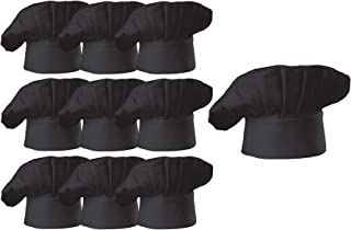Hyzrz Chef Hat Set of 10 PCS Pack Adult Adjustable Elastic Baker Kitchen Cooking Chef Cap, Black