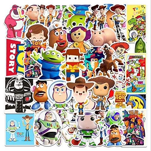 HONGC Toy Story Disney Pegatina estética Equipaje refrigerador Piano Guitarra no se Repite Dibujos Animados Graffiti Pegatinas 50 Uds