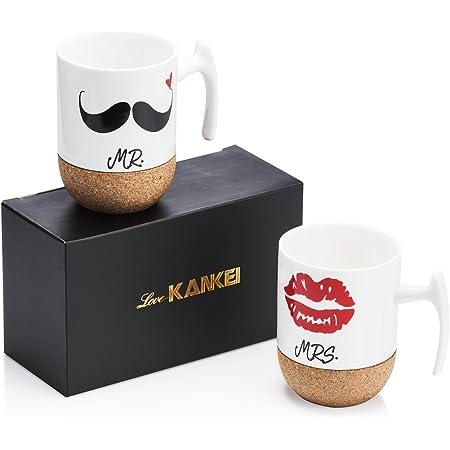 Love-KANKEI ペア マグカップ プレゼント 結婚お祝い エスプレッソカップ Mr. & Mrs. 結婚記念 コルク付き 300ml 2個セット ホワイト