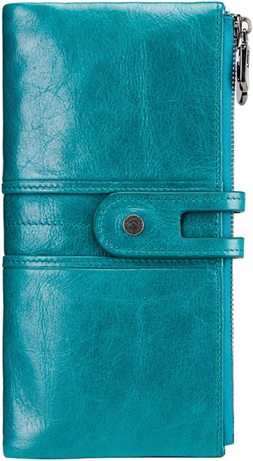 Women's Wallet Genuine Leather Wallets Multifunction Long Wallet Large Capacity Clutch,for Card Holder,19.5  3  9.5cm